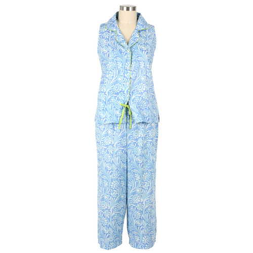 100% cotton sleeveless capri pajama set