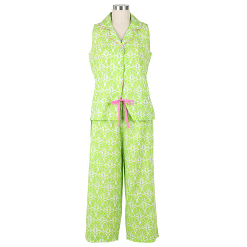 Womens cotton voile capri pj set