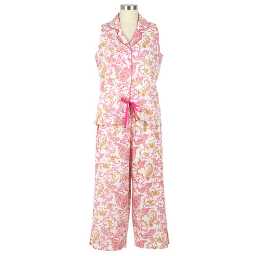 Sleeveless Capri cotton voile pj set