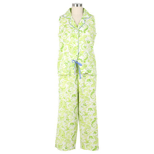 Womens sleeveless capri cotton pjs