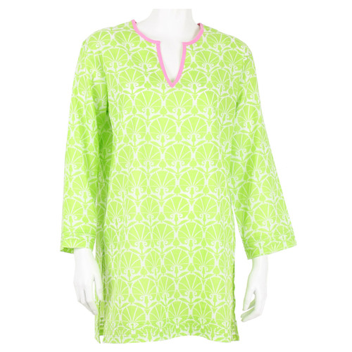 Nevis Lime cotton voile tunic