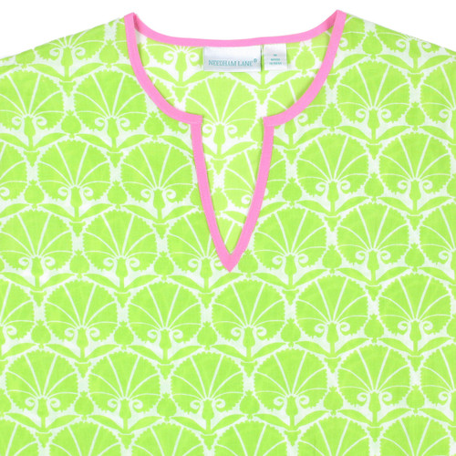 Nevis Lime cotton voile tunic closeup