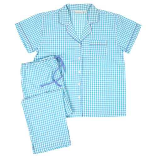 Aqua Gingham Short Sleeve Pajamas
