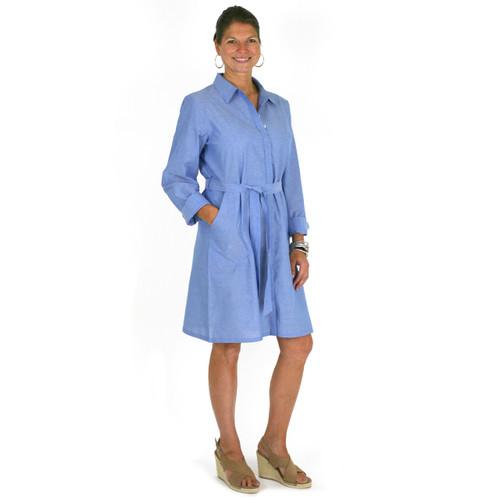 Blue chambray button down shirtdress