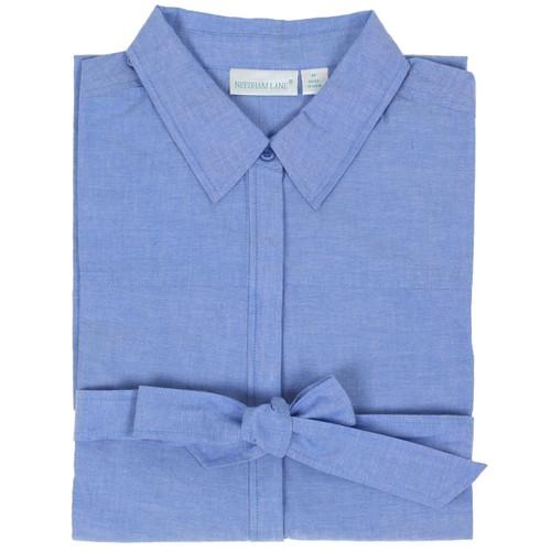 Women's cotton chambray button-front shirt dress