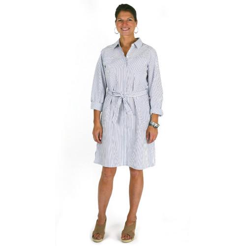 Cotton striped shirtdress with sash belt