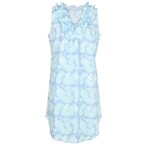 Women's printed, woven cotton sleeveless nightgown