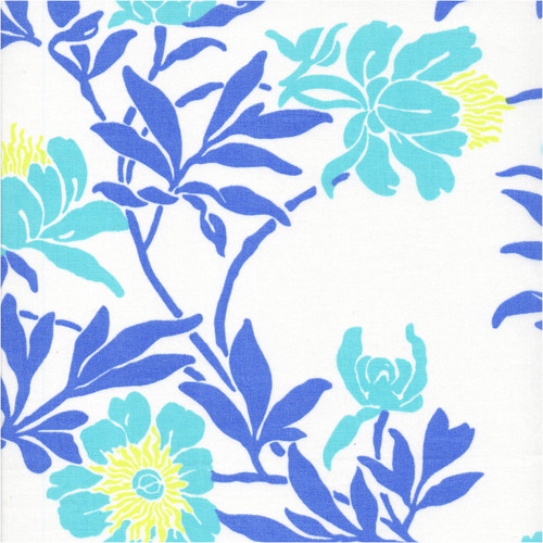 Fabric swatch of Livia Aqua printed 100% woven cotton