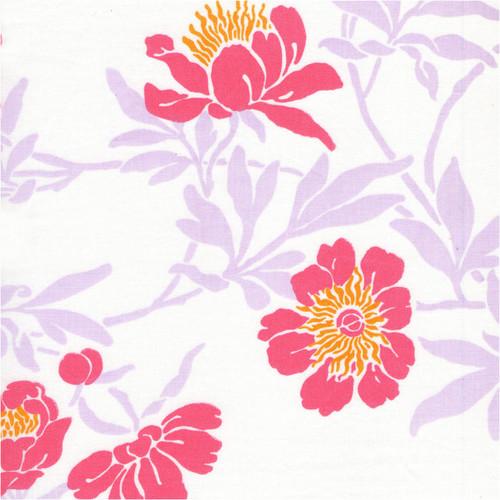 Livia Mist printed, woven cotton fabric swatch