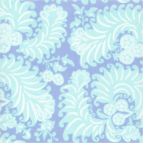 Fabric swatch of Sonya Blue printed cotton poplin