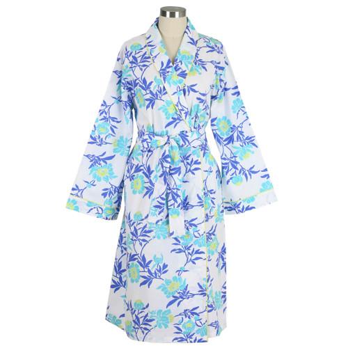 Women's  printed cotton poplin bathrobe