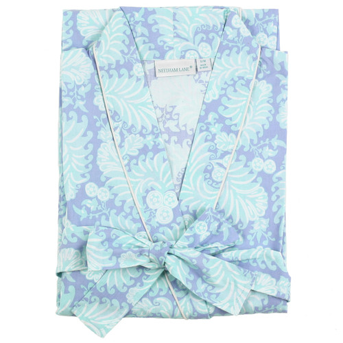 Women's printed cotton poplin bathrobe closeup