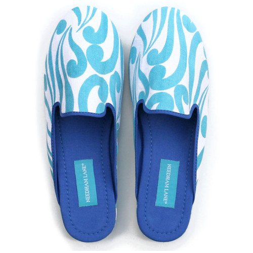 Isabella Aqua canvas slippers