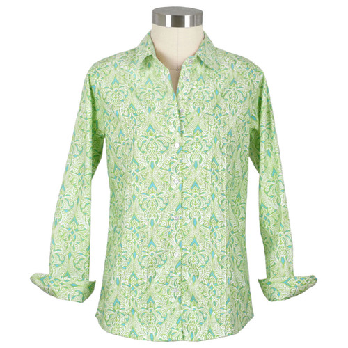 Clare Lime Pleated Shirt