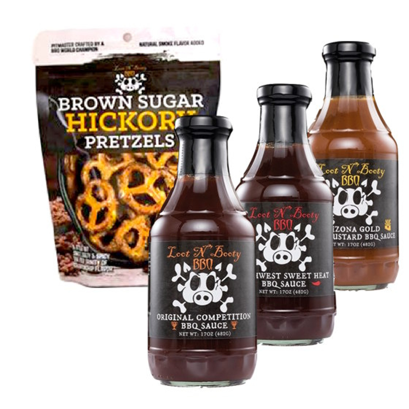 Loot n' Booty BBQ - Pitmaster 3 Sauce & Pretzels Pack