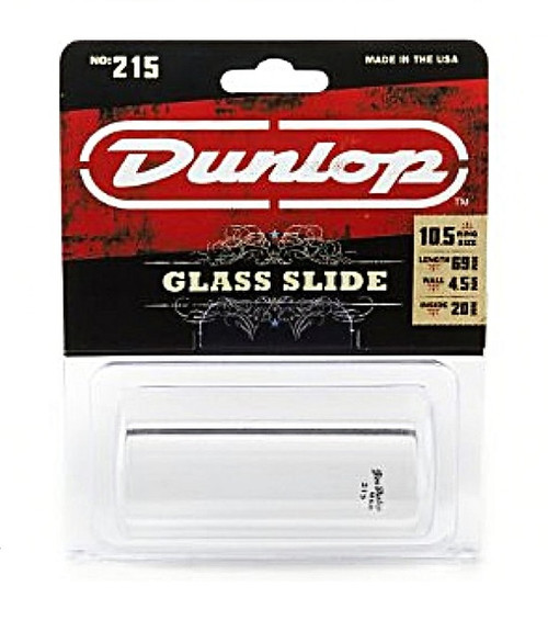 Dunlop USA No.215 Pyrex Glass Slide Hvy/Medium 20x29x69mm Ring Size 10.5