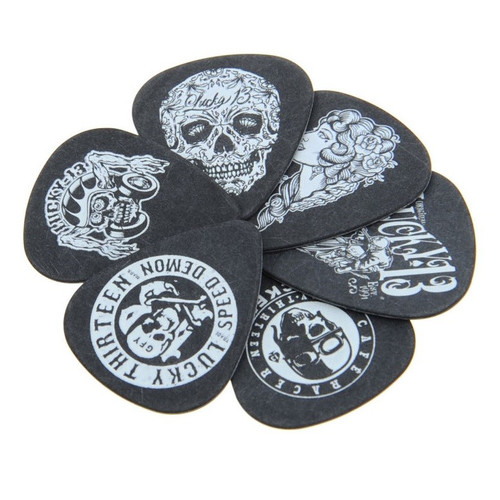 Dunlop Lucky 13 Pick Tin .73mm 6 Assorted Picks Collectable L13CT073