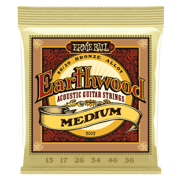 Ernie Ball 2002 Earthwood 80/20 Bronze Medium Acoustic Guitar Strings 13-56