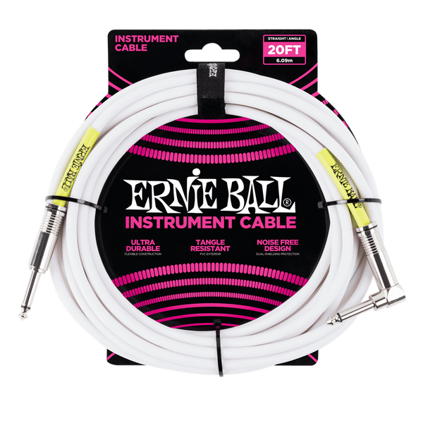 20' Straight / Angle Instrument Cable - White