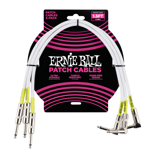 1.5' Straight / Angle Patch Cable 3-pack - White