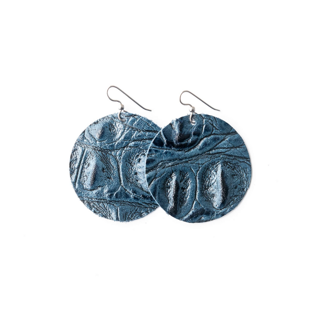 Keva Leather Round Earrings - The James