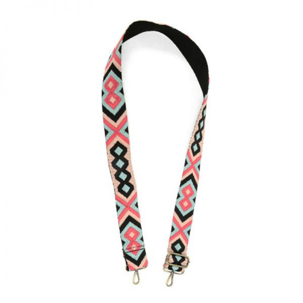 Joy Susan - Geometric Embroidered Purse Guitar Strap - Pink/Turquoise