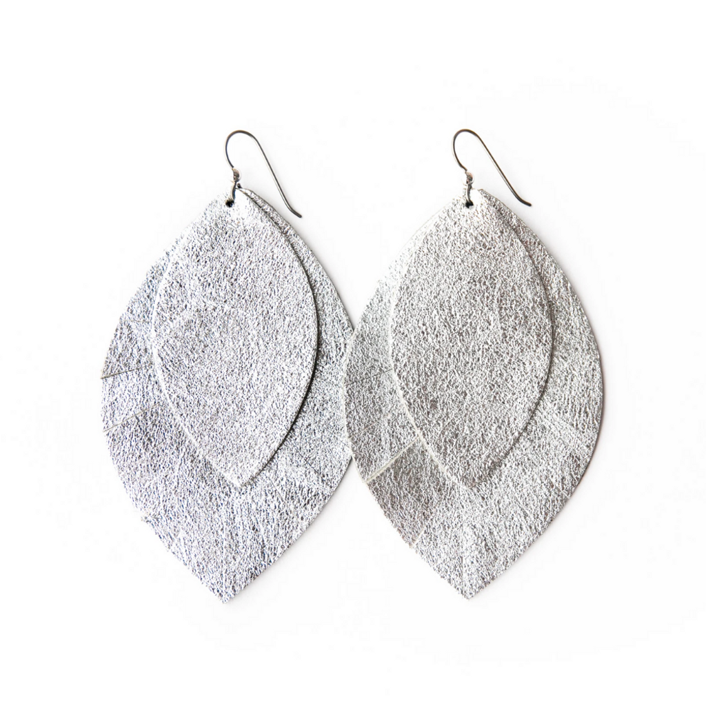 Keva Large Leather Layered Earrings - Silver with Silver Shimmer Fringe