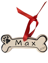 Hand Painted & Personalized Dog Bone Ornament