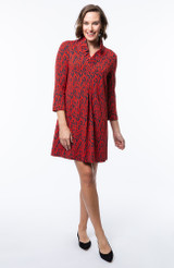 Tyler Boe - Constance Dress – Scroll Navy and Red