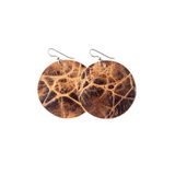 Keva Leather Round Earrings - Brown's Island
