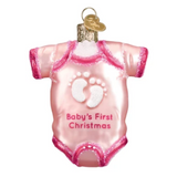 Old World Christmas Pink Baby Onesie Ornament
