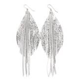 Keva Feather Leather Earrings - Shimmer Silver