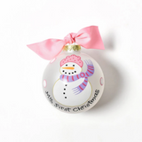 Coton Colors Ornament - My First Christmas Pink Snowman