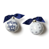 Coton Colors Ornament - Welcome Baby Boy Gingham