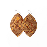 Keva Small Leather Earrings - Carved Brown