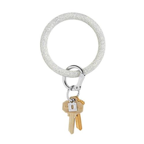 Big O Silicone Key Ring - Silver Confetti