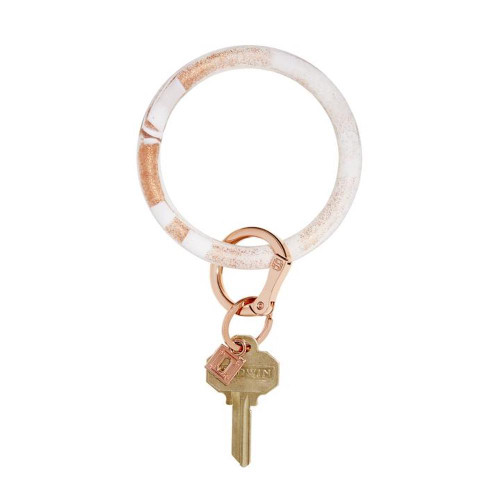 Big O Silicone Key Ring - Rose Gold Marble