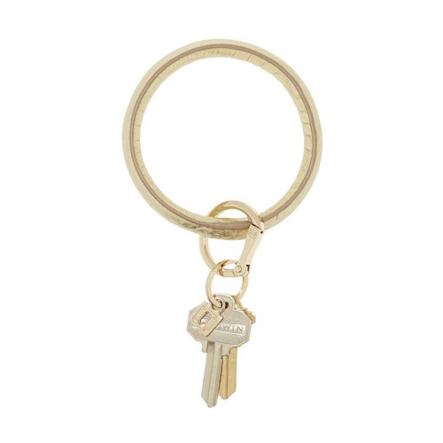 Big O Embossed Leather Key Ring - Solid Gold