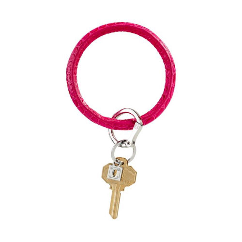 Big O Embossed Leather Key Ring - Pink Topaz
