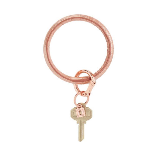 Big O Embossed Leather Key Ring - Solid Rose Gold