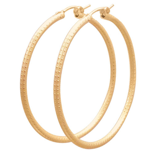 enewton TEXTURED ROUND GOLD HOOP EARRINGS 2""