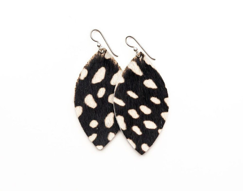 Keva Large Leather Earrings - Spotted in White