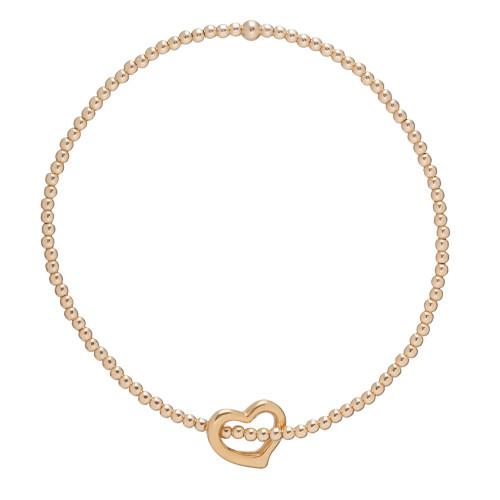 enewton Classic Gold 2mm Bead Bracelet - Love Gold Charm