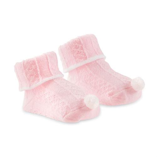 Newborn Socks - Pink Cable Knit Pom Pom
