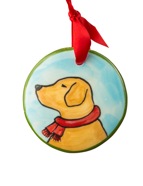 Hand Painted Yellow Lab Profile Ornament