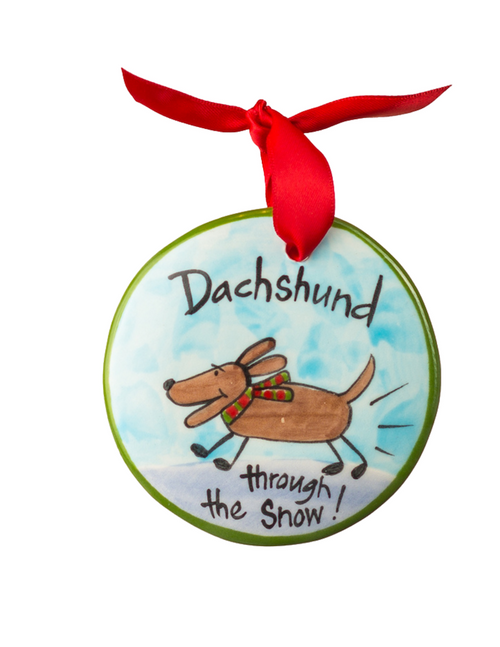 "Hand Painted ""Daschund""Through the Snow Ornament"