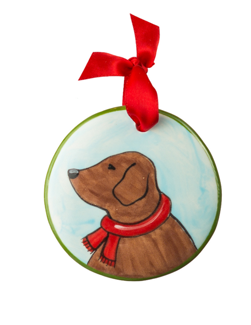 Hand Painted Chocolate Lab Profile Ornament