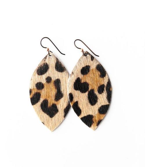 Keva Small Leather Earrings - Leopard
