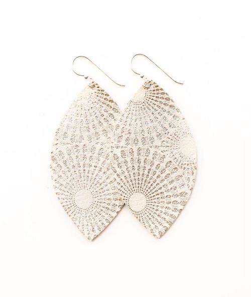 Keva Large Leather Earrings - Starburst Platinum