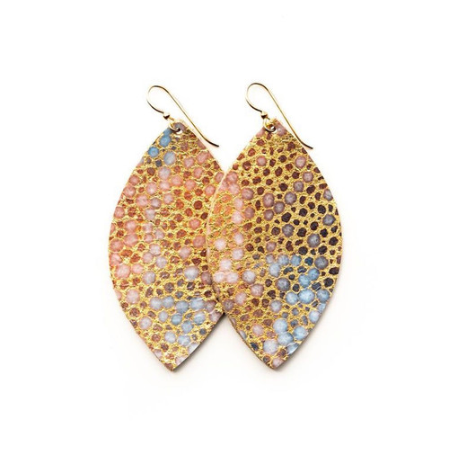 Keva Large Leather Earrings - Gold Blue Speckled